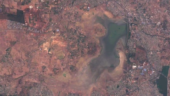 City where drought is visible from space
