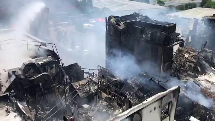 Ladder video shows fire-hit hotel damage