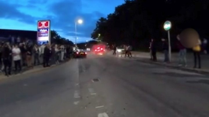 Footage shows moment of 'car cruise' crash