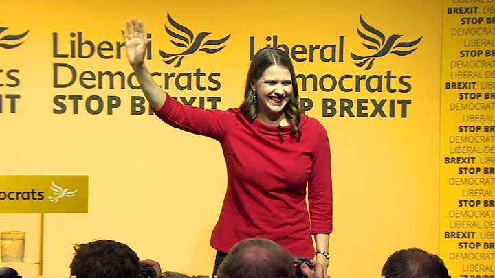 Media playback is unsupported on your device                  Media caption New Lib Dem leader Jo Swinson