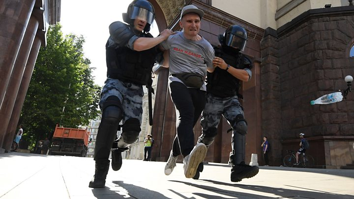 Hundreds arrested at Moscow rally