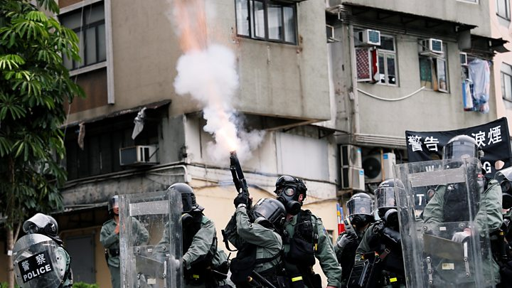 Tear gas fired at Hong Kong protesters