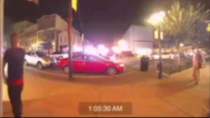 CCTV captures bystanders fleeing Dayton attacker