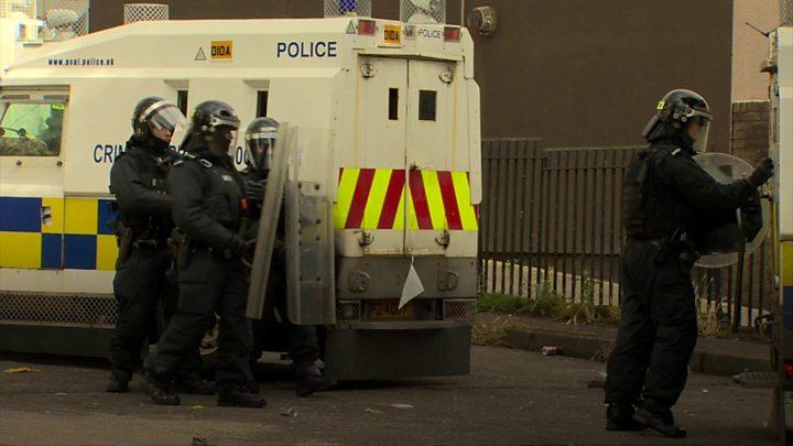 Police officer struck during north Belfast unrest