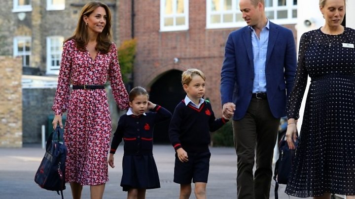 Smiles as Princess Charlotte starts school