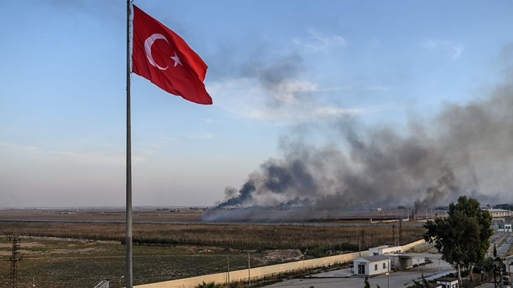 Turkey pounds Syrian border towns, sparking exodus