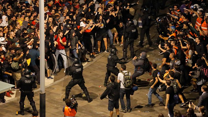 Catalonia crisis: Tempers fray as jail terms renew Spain row