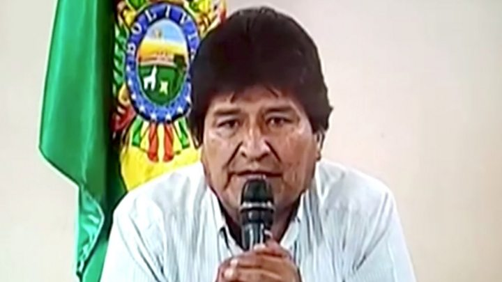 Media playback is unsupported on your device                  Media caption Watch Evo Morales announce his resignation