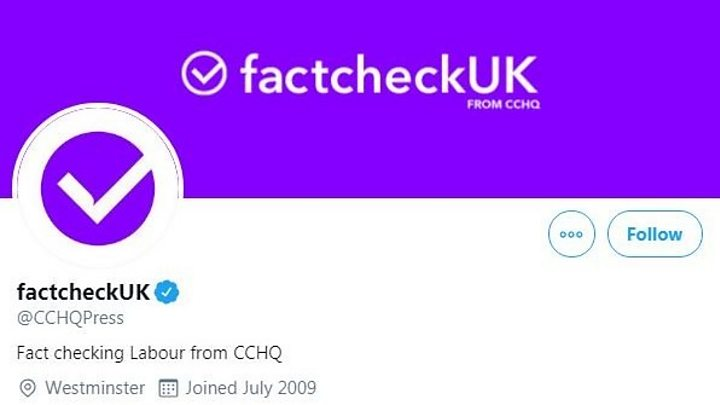 Tories criticised over Twitter 'factcheckUK' rebranding