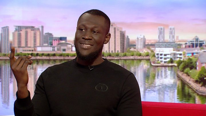 Stormzy: Vossi Bop singer in slippers on BBC Breakfast - CBBC Newsround