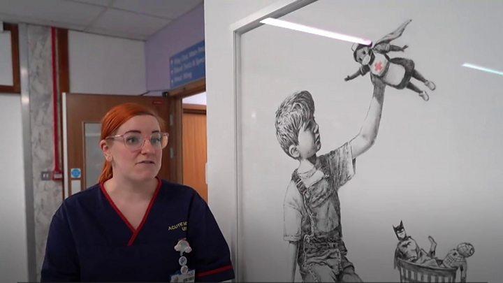 Banksy artwork depicts nurse as superhero