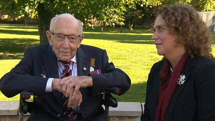 Record UK fund-raiser Colonel Tom Moore, 100, is knighted