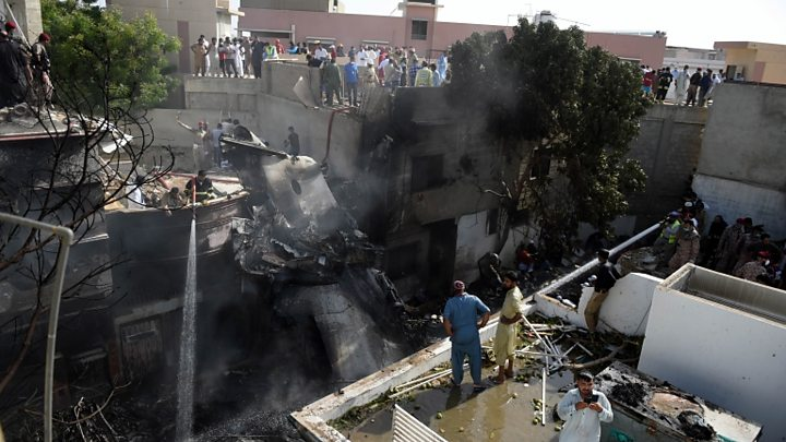 Pakistan Plane Crash Survivor All I Could See Was Fire Bbc News