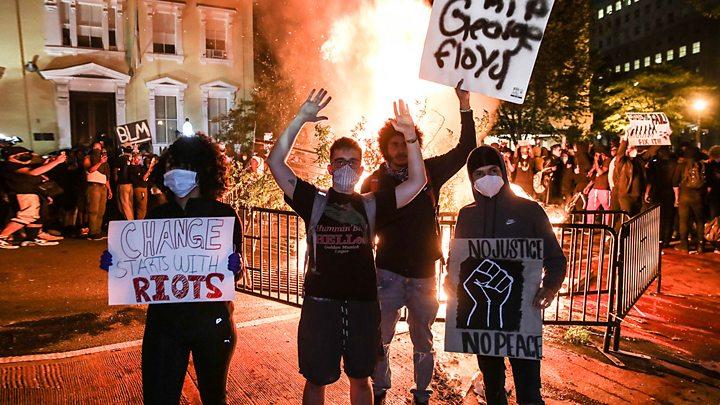 Смерть Джорджа Флойда. В США протесты и погромы, Трамп спускался в бункер - BBC News Русская служба