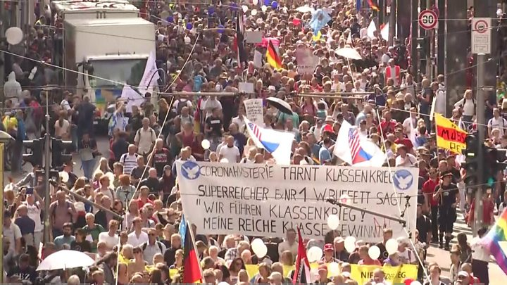 Germany coronavirus: Hundreds arrested in German 'anti-corona' protests thumbnail
