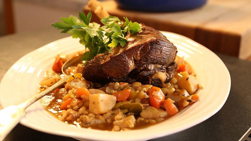 Pot-roast hogget with barley