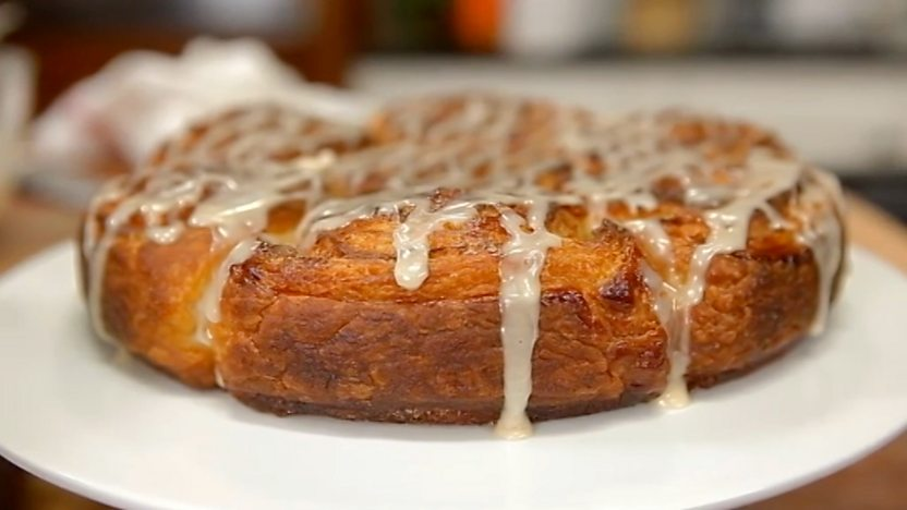 Cinnamon cream cheese rolls with bourbon glaze