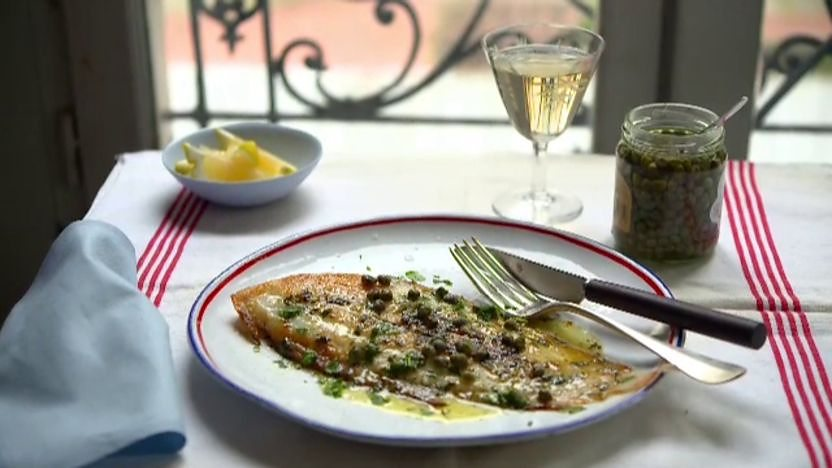 Fish with lemon and brown butter sauce