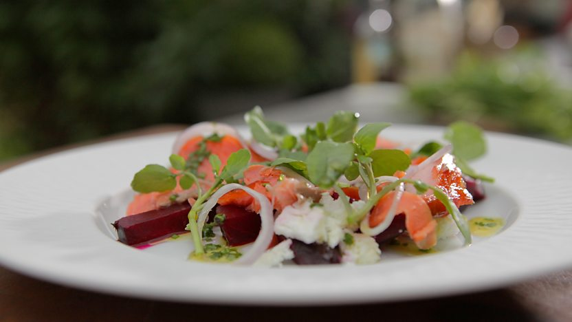 Home-smoked trout with feta salad