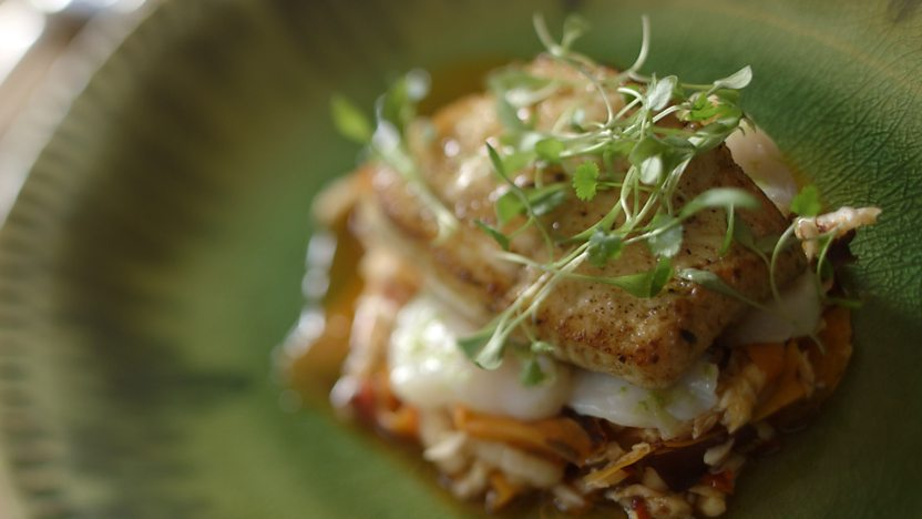 Halibut with spicy kimchi