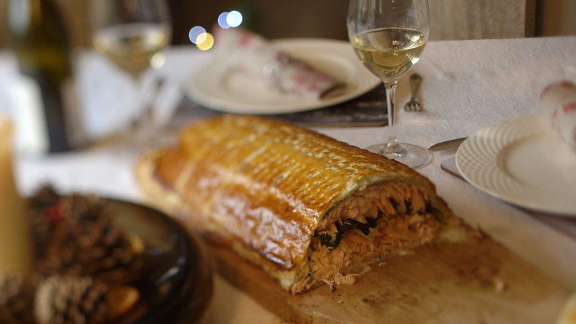 Cheat's salmon coulibiac