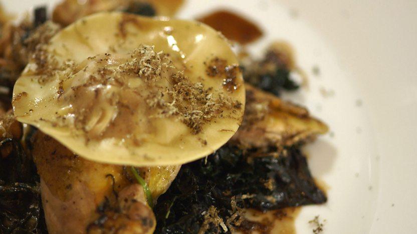 Roast pheasant with ravioli and wild mushrooms