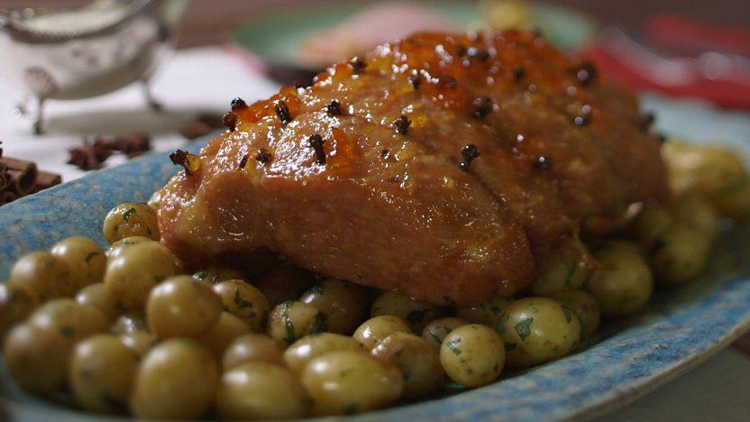 Marmalade-glazed gammon
