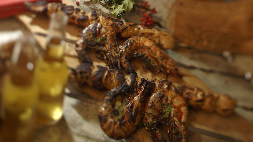 Christmas barbecued coconut prawns and chicken tikka