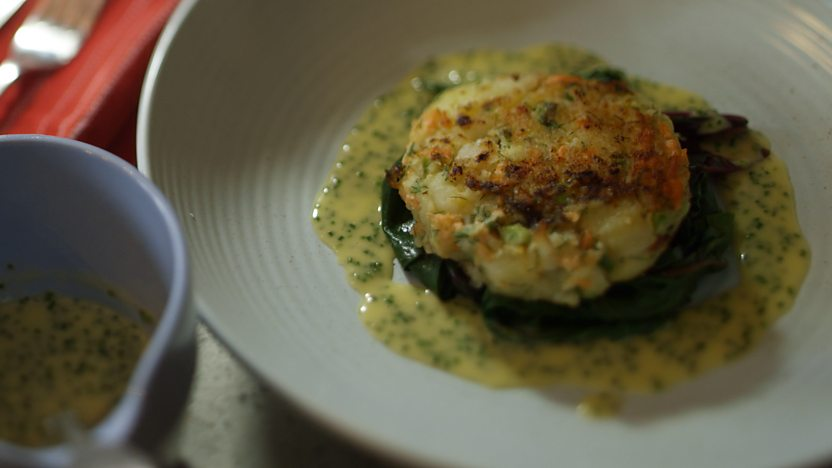 Fish cakes with chive beurre blanc