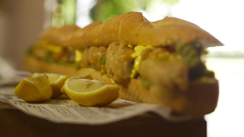 Battered pollock baguettes with mushy peas and lemon mayonnaise