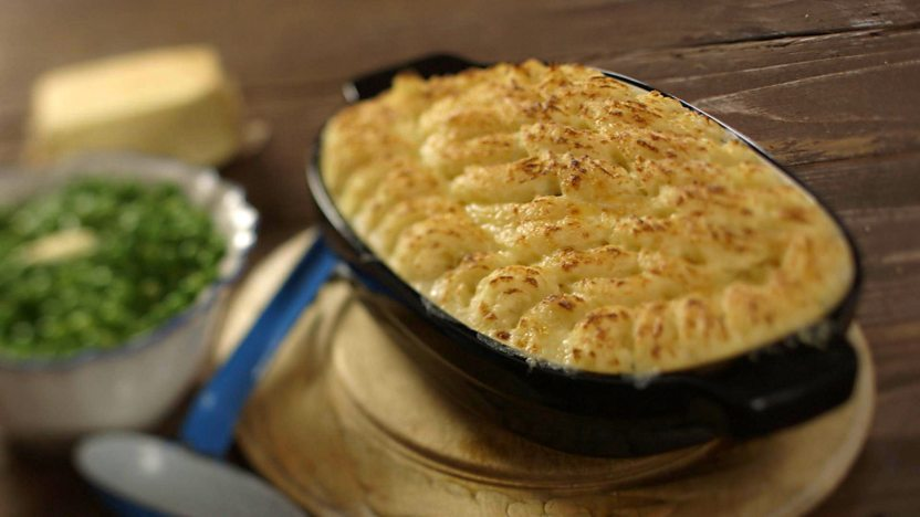 Classic fish pie with peas