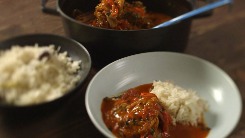 Chicken piperade with pilau rice