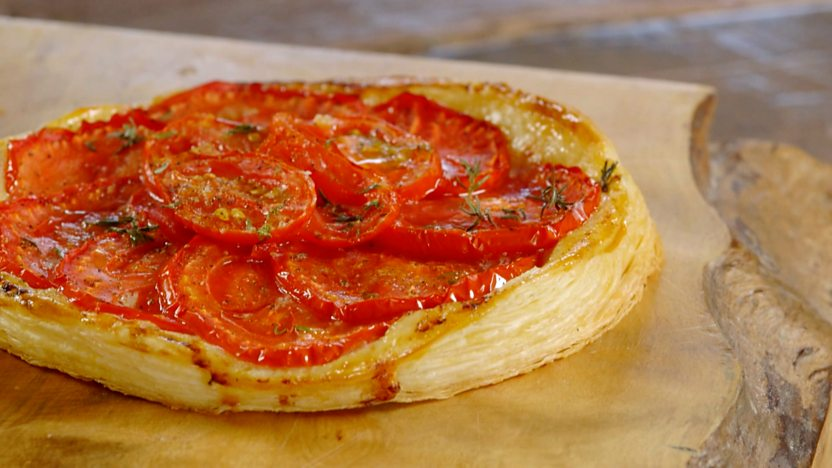 Heritage tomato tart with blow-torched tomato salad