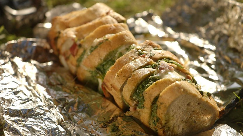 Hot tinned sandwiches with serrano ham, mozzarella, rocket and pesto