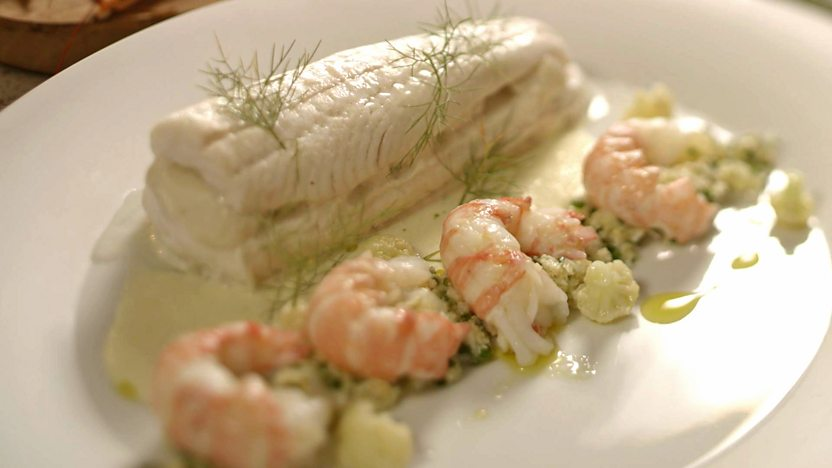 Layered sole with langoustines and cauliflower
