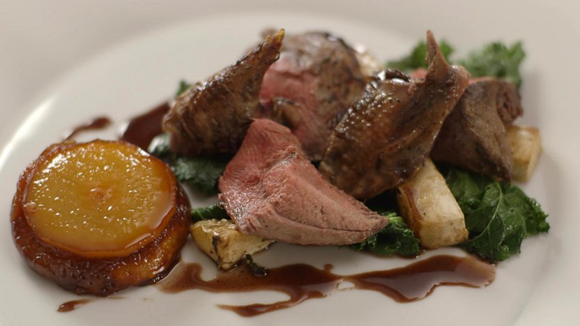 Roast grouse with pear tatin and kale