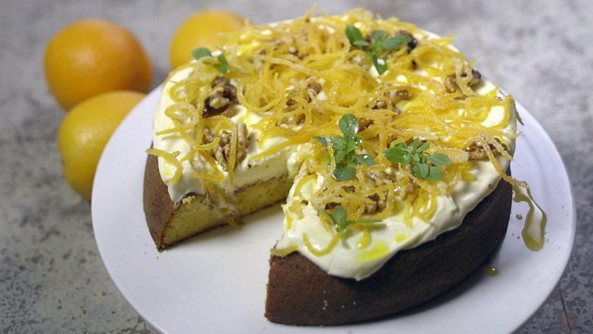 Orange and rapeseed oil cake with cream cheese frosting