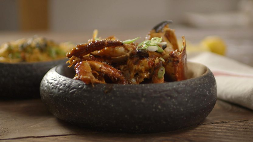 Singapore chilli crab with egg noodles