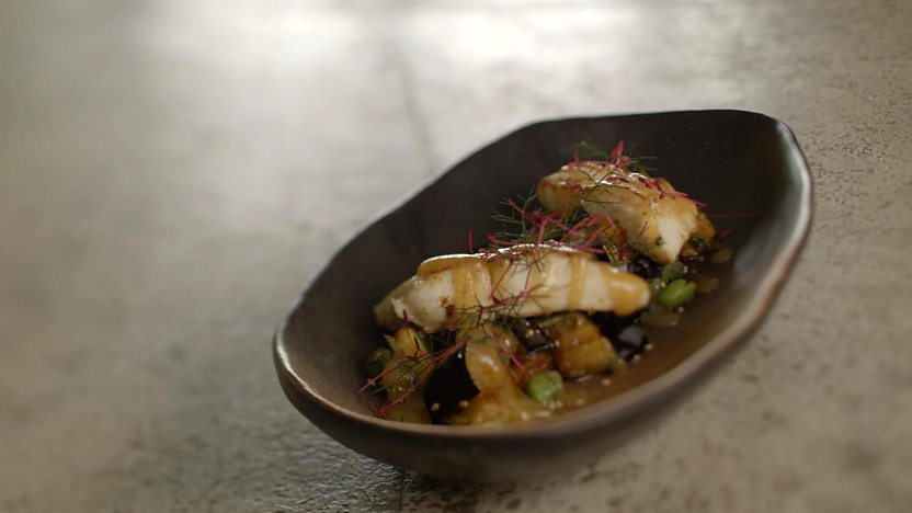 Deep-fried aubergine with halibut and miso