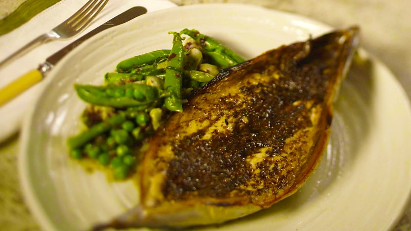 Grilled mackerel with dulse butter
