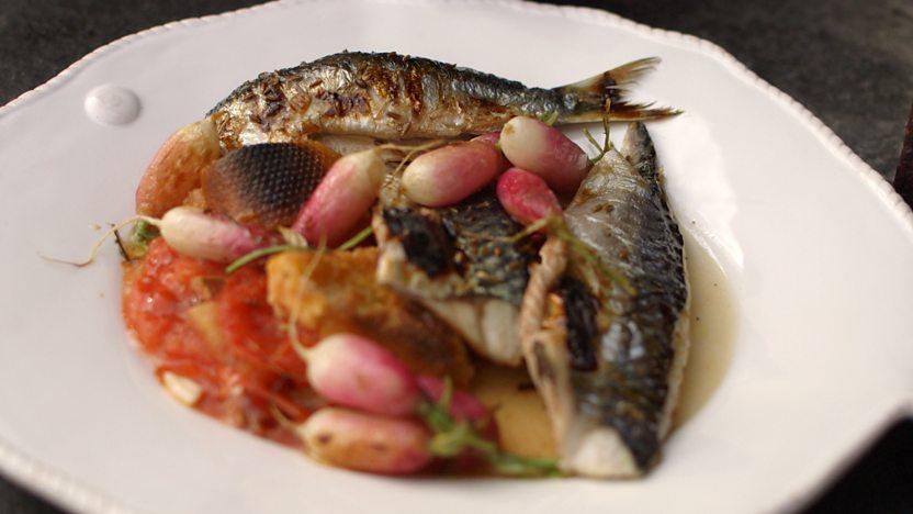 Roasted sardines, mackerel and radishes