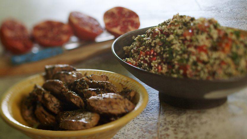 Spiced pork and pomegranate tabbouleh