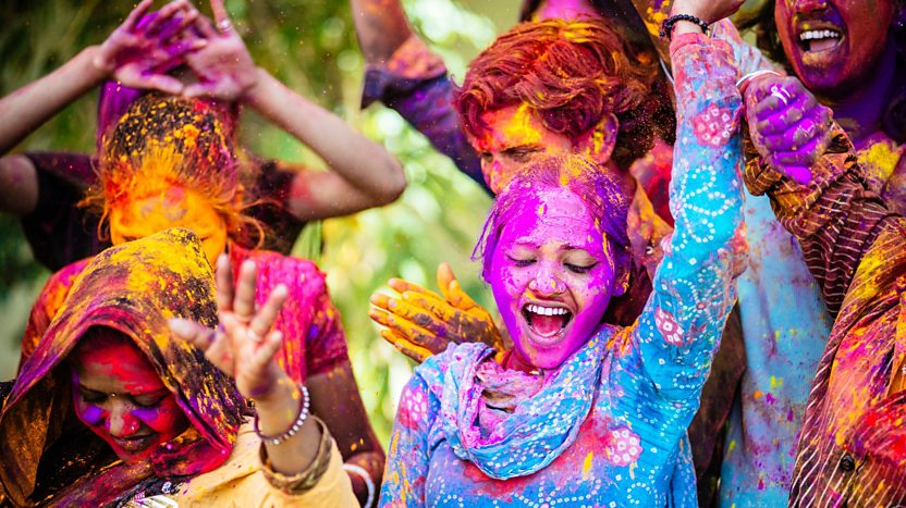 Some friends celebrating Holi festival