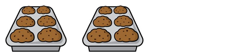 Two baking trays each containing 6 muffins.
