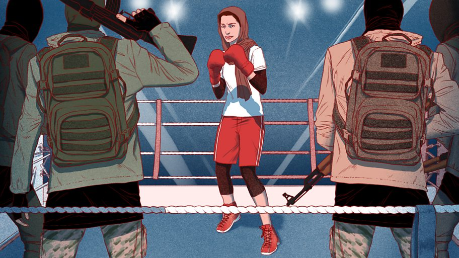 An illustration of a young woman in a headscarf inside a boxing ring, facing down men with automatic weapons