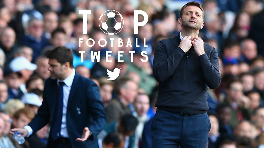 Tim Sherwood holds his collar while looking anxious standing on the touchline