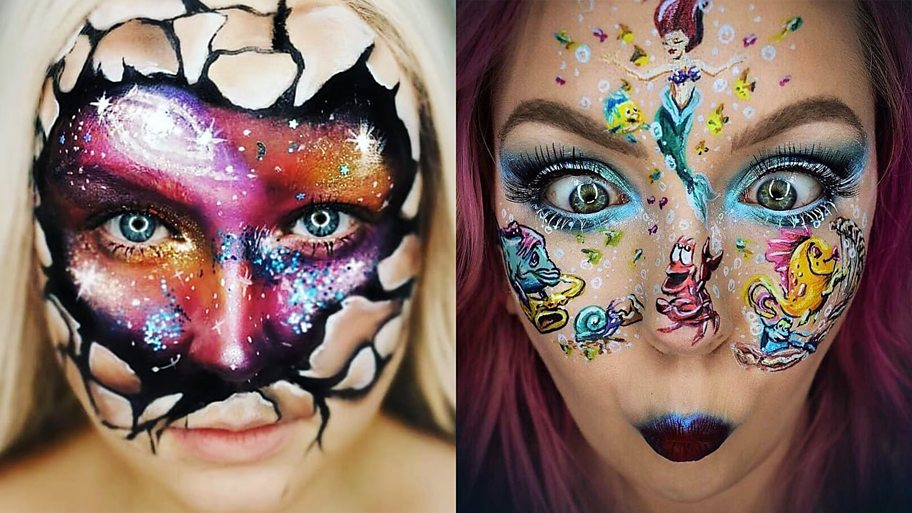 Two faces transformed by Glow Up inspired make up art
