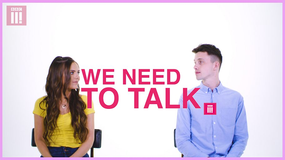 A young couple look at each other with the words 'we need to talk' between them.