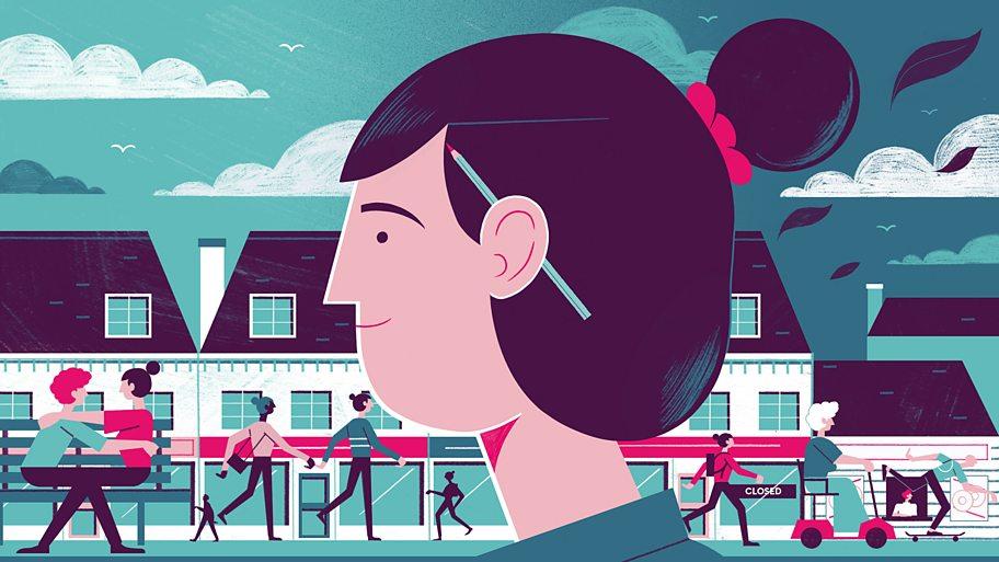 An illustration of a woman walking down a high street
