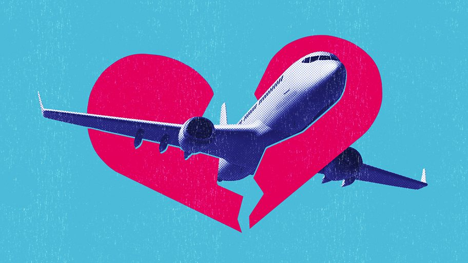 An illustration of a plane flying through a broken heart